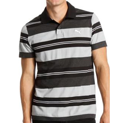 Striped Polo black-quarry-dark heat